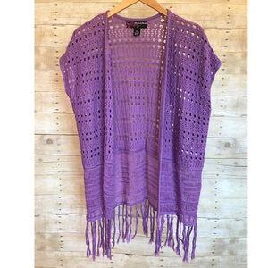 Peck & Peck Lilac Fringe Crochet Cardigan Vest